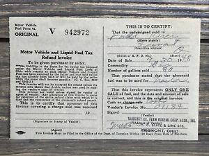 Vintage-Receipt-Invoice-Motor-Vehicle-And-Liquid-Fuel-Tax-1948-Ohio