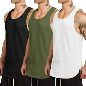 COOFANDY Mens Dry Fit Workout Tank Top Gym Muscle Tee Fitness Weightlifting Tee Shirts