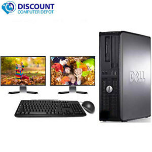 Dell-Desktop-Computer-PC-Intel-Windows-10-WIFI-Dual-LCD-Monitor-17-034-19-034