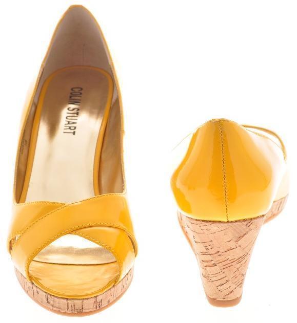 New COLIN STUART damen Patent Leather Peep Toe Sandal Pump Wedge schuhe Sz 7.5 M