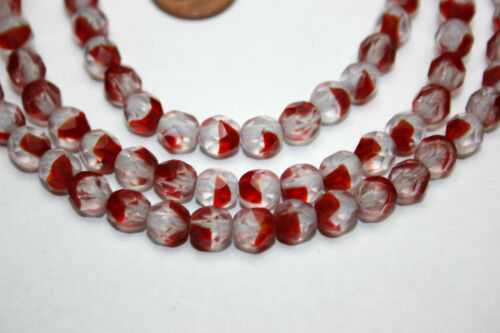 Strang 64 cm böhmische Glasperlen rot klar rund facettiert Glasschliff 6 mm