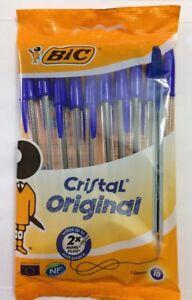 Pack of 10 BiC Cristal Medium Biro Ballpoint Pen 1.0 mm Blue