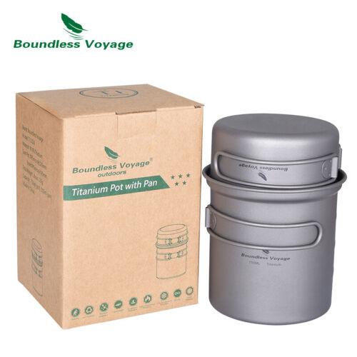 Titanium Camping Pot Pan Set Ultralight Cookware Outdoor Kitchen Mess Kit