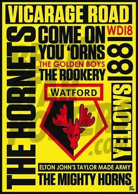 OFFICIALLY LICENSED PRODUCT A2 WATFORD FC WORD POSTER