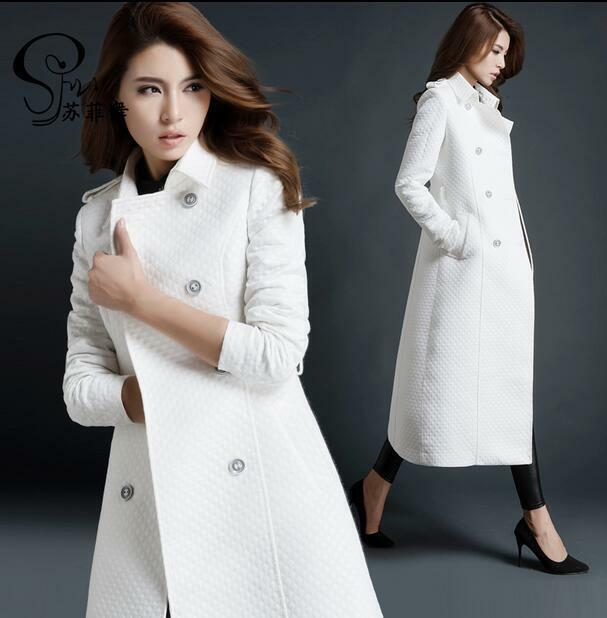 New Womens White Trench Coat Slim Double Breasted Overcoat Outerwear Size F658