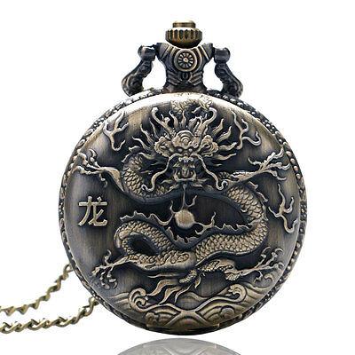 Mens Womens Retro 12 Chinese Zodiac Dragon Quartz Pocket Watch Necklace Gift