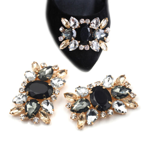 1Pc Alloy Shoes Clips Strass Crystal Flower Buckle Bridal Wedding De Eo