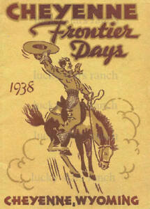 VINTAGE RODEO POSTER - 1938 Cheyenne Frontier Days -  (Y) Cheyenne Wyoming