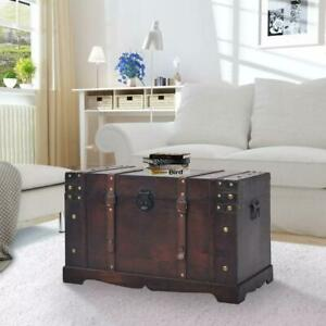 Details About Antique Vintage Style Wooden Storage Box Treasure Chest Trunk Coffee Table