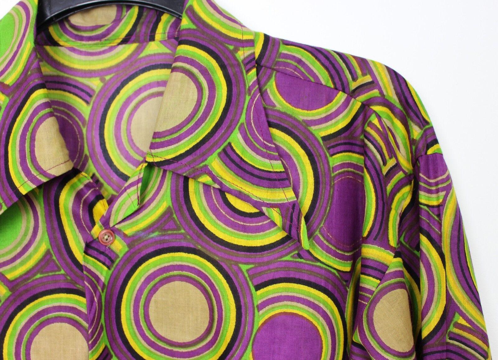 VINTAGE Da Uomo 60s 70s Stile Crazy Principe Psichedelico Festival Retro Shirt M A L