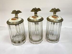 3 Preis Glas-Bierkrüge, Zinndeckel mit Porzellan, Thorn  Westpreussen 1898 Sport