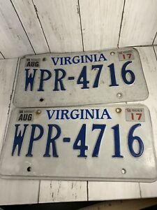 Pair-2017-VA-Virginia-License-Plates-WPR-4716
