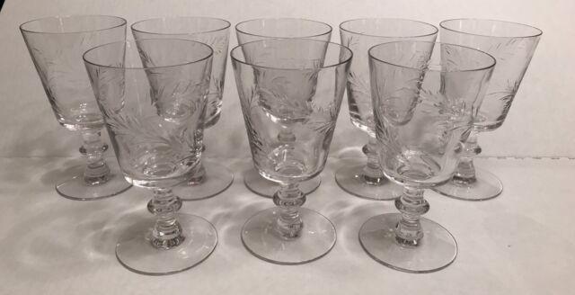 Vintage Etched Crystal Cocktail Glasses Stemware 8 oz EUC Set Of 8