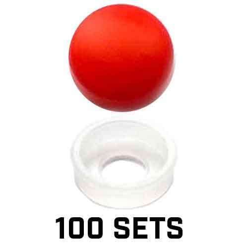 SAE FASTENERS 100 Vivid Red License Plate Frame Screw Covers /& Snap Washers