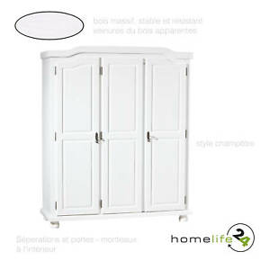 armoire dressing penderie rangement tag re 3 portes bois massif blanc ebay. Black Bedroom Furniture Sets. Home Design Ideas