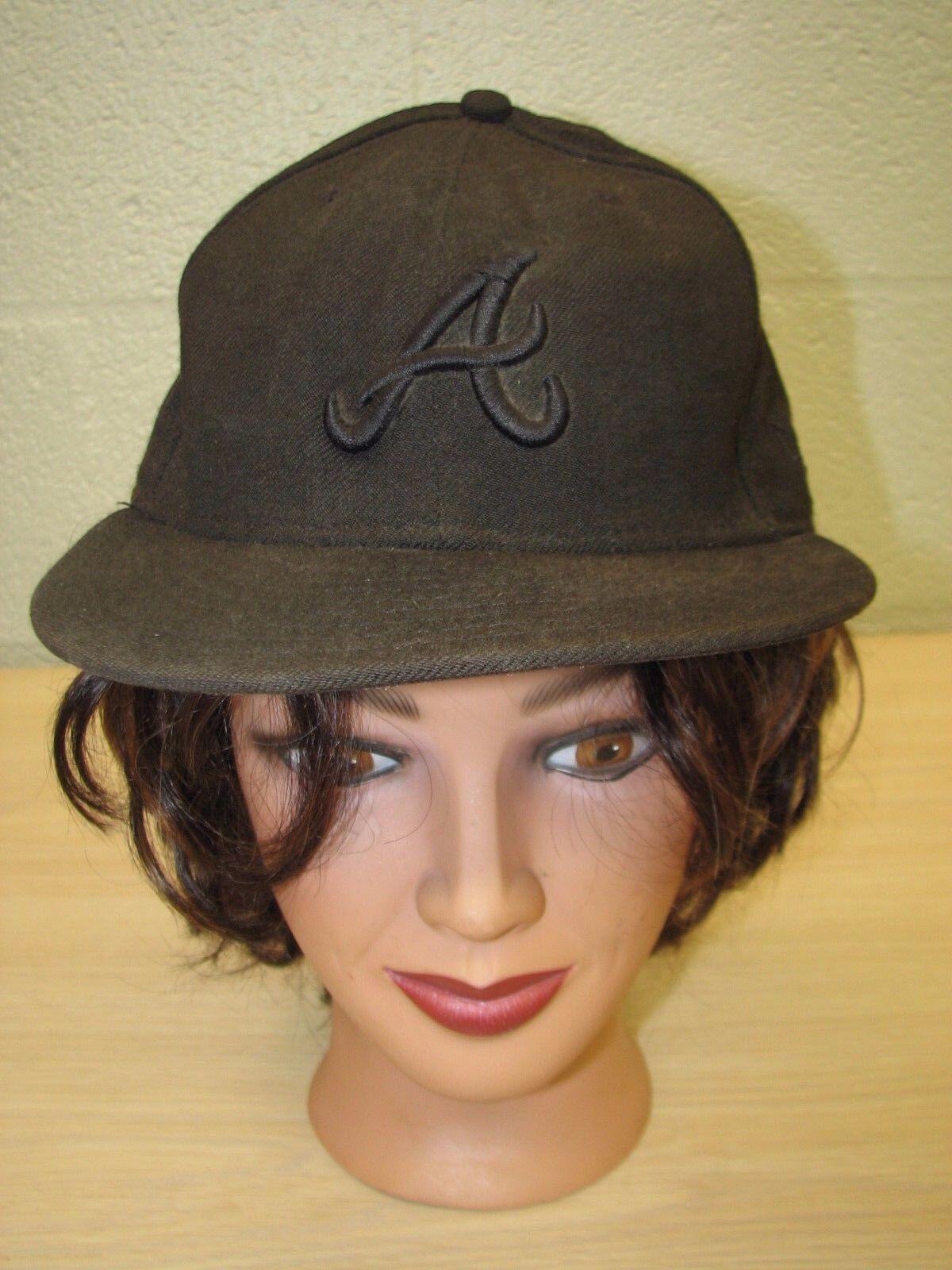 Atlanta Braves MLB Black New Baseball Era 59Fifty 59 Fifty Baseball New Cap Hat Size 7 3/8 fbd230