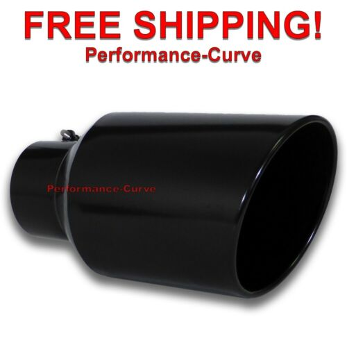 """15/"""" Long Black Diesel Stainless Steel Bolt On Exhaust Tip 5/"""" Inlet 8/"""" Outlet"""