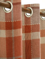"""NEXT Ginger Rustic Woven Check Orange THERMAL Eyelet Curtains135x183cm 53x72"""""""