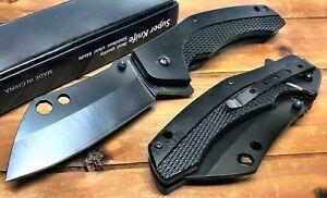 """8.25"""" TACTICAL Spring Assisted Open Pocket Knife CLEAVER RAZOR FOLDING Blade Bk"""