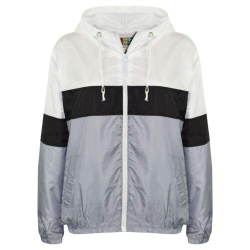 Kids Girls Boys Windbreaker Black Contrast Block Jackets Hooded Cagoule Raincoat