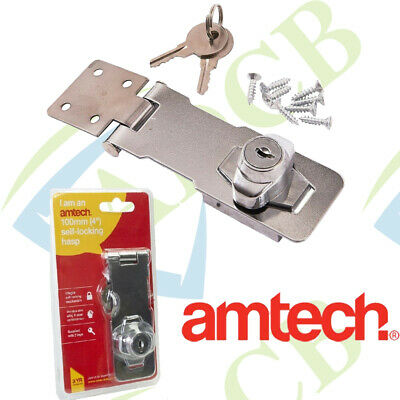 "Chrome 4/"" 100mm Hasp /& Staple With Integrated Lock Self Locking 2 Keys Screws"