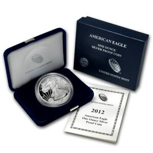 2012-W-US-Mint-American-Eagle-1-oz-Silver-Proof-Coin-with-Case-amp-COA