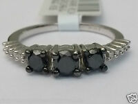 Three Stone Past Present Future Black White 1ct Diamonds Engagement Promise Ring