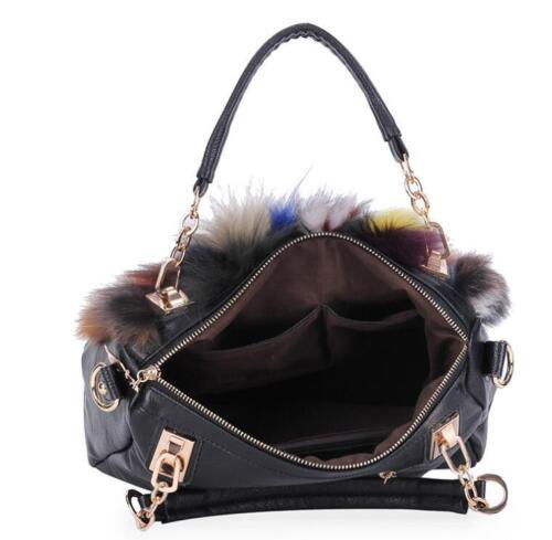 Details about  /Women Color stitching fox Fur Bag Buckle Handbag Female Purse Shoulder Tote Bags