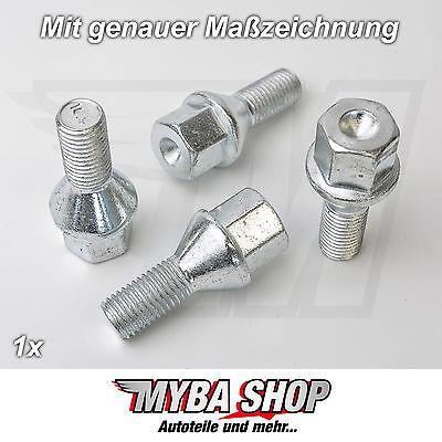 16 tornillos perno de rueda tornillos m12 x 1.5 x 50 cono kegelbund 60 ° sw17
