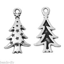 20PCs BD Christmas Charm Pendants Tree Pattern X-mas Gift 26.5mm x14mm