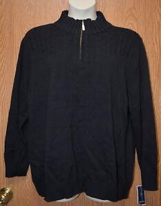68caa7030c2c Womens Black Corded Karen Scott Partial Zip Long Sleeve Sweater Size ...