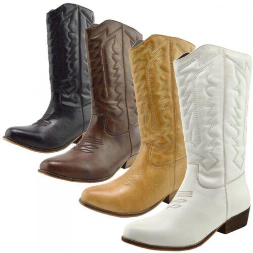 Ladies Womens Mid Calf Block Heel Riding Cowboy Biker Boots Zip Ups Shoes Size