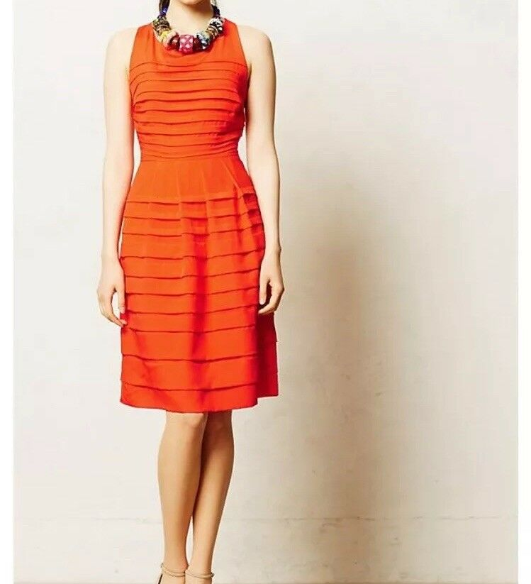 Anthropologie Eva Franco Womens Tangelo Dress orange Fit Flare Size 2 NWT