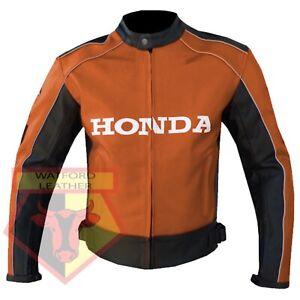 HONDA-5523-ORANGE-MOTORBIKE-MOTORCYCLE-BIKERS-COWHIDE-LEATHER-ARMOURED-JACKET