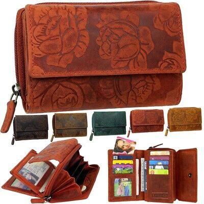 LOZANO Damen Geldbörse Geldbeutel Echt Leder Brieftasche Portemonnaie Geldtasche