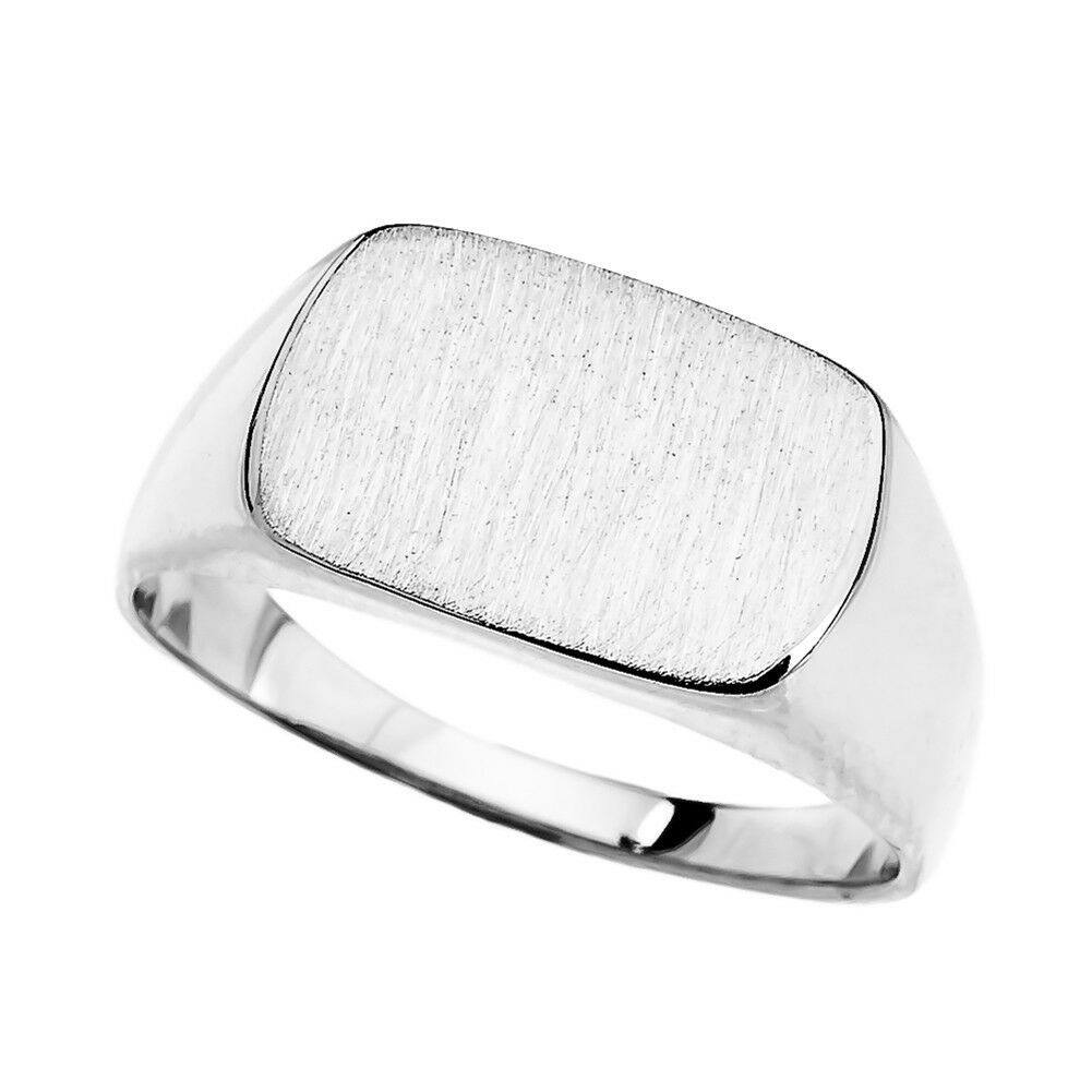 Solid 10k 14k White gold Rectangular Signet  Ring