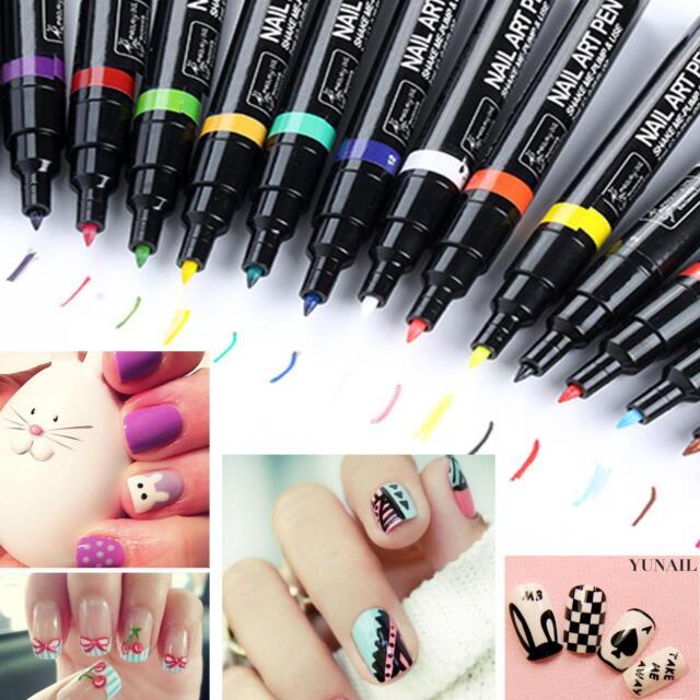 Pro 24 Pcs Color Nail Art Pen Painting Design Tool Drawing for UV Gel Polish Set