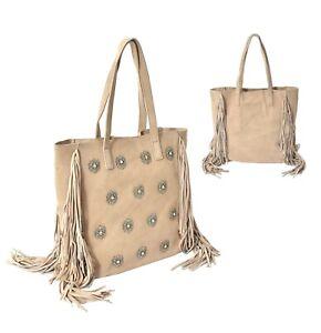 Women-039-s-Leather-Travel-Tote-Handbag-Embellished-Boho-Double-Handle-Fringe-Purse