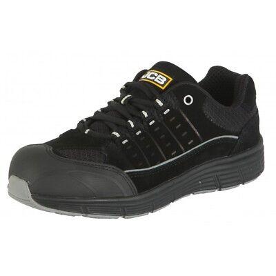 Jcb Trekker Black Suede Safety Work Trainers Shoes Steel Toe Toe Cap Mid Sole