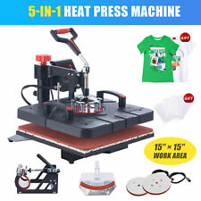 15x15in Heat Press Machine Swing Away W 4 Attachments For Mugs Hats Masks Shoes