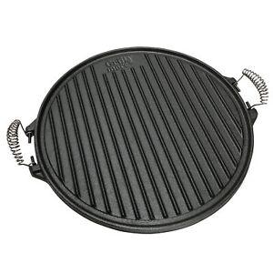 Grillplatte-Wendeplatte-Gusseisen-Grillaufsatz-rund-Wende-Grill-BBQ-43cm-B-Ware