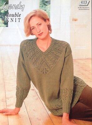 "Wendy  DK Knitting Pattern Ladies Jumper Size 32//42/"""
