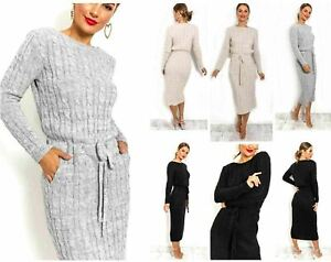 Ladies-Cable-Knitted-Tie-Waist-Band-Knit-Side-Pocket-Long-Midi-Dress-new