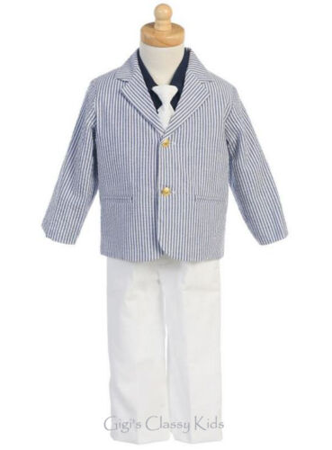 New Toddler Boys Striped Navy Blue White Suit 4 Pc Sailor Wedding Easter 3777