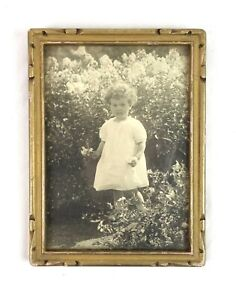 """Small Vintage Art Deco Style Wood and Gesso Gold Picture Frame Fits 7"""" x 5"""""""