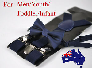 New-Navy-Blue-Bow-tie-Bowtie-and-Elastic-Suspenders-Braces-set-for-All-ages