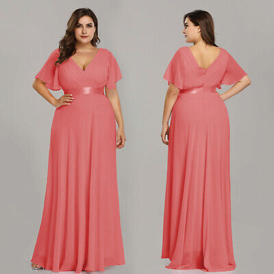 Ever-Pretty Plus A-line Bridesmaid Dress Chiffon V-Neck Evening Gown Coral  09890 | eBay