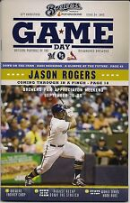 JASON ROGERS ON COVER MILWAUKEE BREWERS 2015 OFFICIAL GAMEDAY PROGRAM ISSUE #24