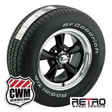 """15x7""""/15x8"""" Retro Wheels Black Rims BFG Tires 225/60R15 245/60R15 Chevy 1953-81"""