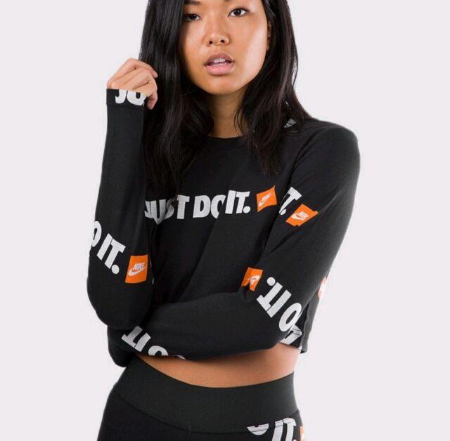 539d2e3d4ff98 XS Womens Nike Crop Top Long Anniversary Sleeve Black All Print Logo ...